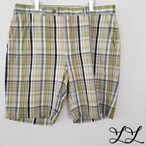 Cutter & Buck Shorts Golf Cotton Plaid Green White